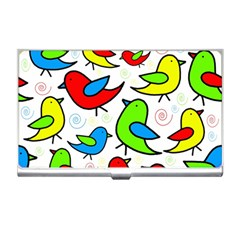 Colorful cute birds pattern Business Card Holders