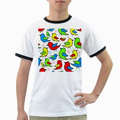 Colorful cute birds pattern Ringer T-Shirts