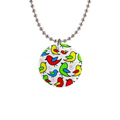 Colorful cute birds pattern Button Necklaces