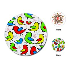 Colorful cute birds pattern Playing Cards (Round)