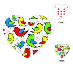 Colorful Cute Birds Pattern Playing Cards (heart)