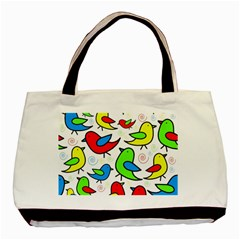Colorful cute birds pattern Basic Tote Bag