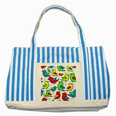 Colorful cute birds pattern Striped Blue Tote Bag