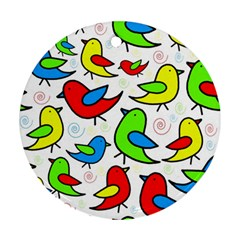 Colorful cute birds pattern Round Ornament (Two Sides)