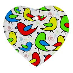 Colorful cute birds pattern Heart Ornament (2 Sides)