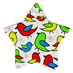 Colorful cute birds pattern Star Ornament (Two Sides)