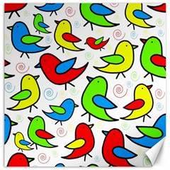 Colorful cute birds pattern Canvas 20  x 20