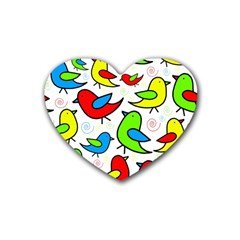 Colorful cute birds pattern Heart Coaster (4 pack)