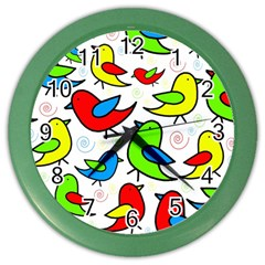 Colorful cute birds pattern Color Wall Clocks