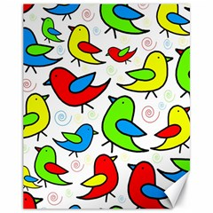 Colorful cute birds pattern Canvas 11  x 14
