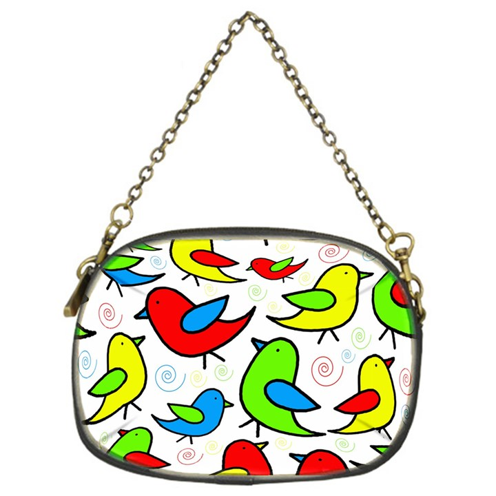 Colorful cute birds pattern Chain Purses (One Side)