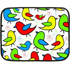 Colorful cute birds pattern Double Sided Fleece Blanket (Mini)