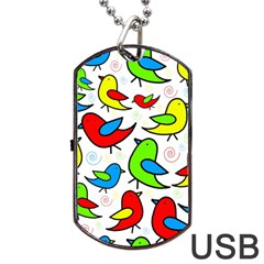 Colorful cute birds pattern Dog Tag USB Flash (Two Sides)