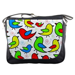 Colorful cute birds pattern Messenger Bags