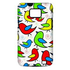 Colorful cute birds pattern Samsung Galaxy S II i9100 Hardshell Case (PC+Silicone)