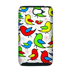 Colorful cute birds pattern Samsung Galaxy Note 2 Hardshell Case (PC+Silicone)