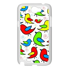 Colorful cute birds pattern Samsung Galaxy Note 2 Case (White)