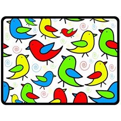 Colorful cute birds pattern Double Sided Fleece Blanket (Large)