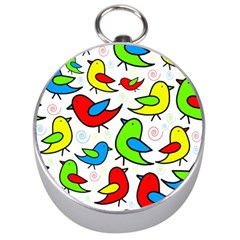 Colorful cute birds pattern Silver Compasses