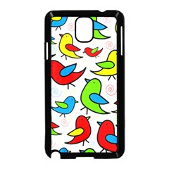 Colorful cute birds pattern Samsung Galaxy Note 3 Neo Hardshell Case (Black)