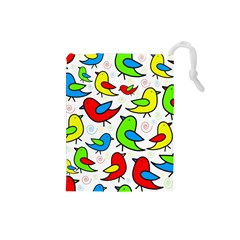 Colorful cute birds pattern Drawstring Pouches (Small)