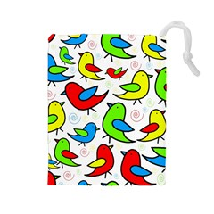 Colorful cute birds pattern Drawstring Pouches (Large)