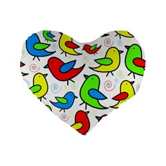 Colorful cute birds pattern Standard 16  Premium Flano Heart Shape Cushions