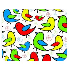 Colorful cute birds pattern Double Sided Flano Blanket (Medium)