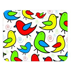 Colorful cute birds pattern Double Sided Flano Blanket (Large)