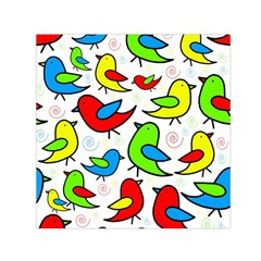 Colorful cute birds pattern Small Satin Scarf (Square)