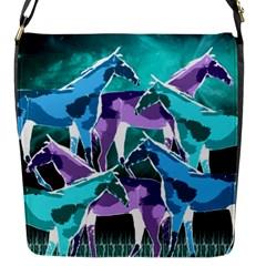 Horses Under A Galaxy Flap Closure Messenger Bag (small)
