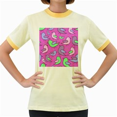 Pink birds pattern Women s Fitted Ringer T-Shirts
