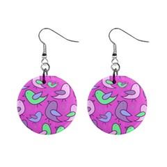 Pink birds pattern Mini Button Earrings