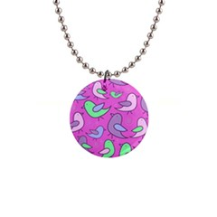 Pink birds pattern Button Necklaces
