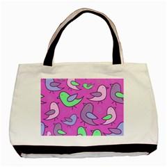 Pink birds pattern Basic Tote Bag