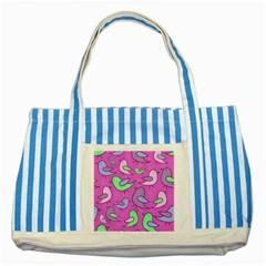 Pink birds pattern Striped Blue Tote Bag