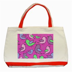 Pink birds pattern Classic Tote Bag (Red)