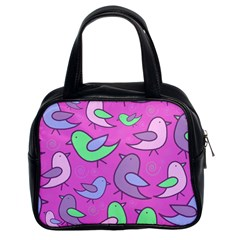 Pink birds pattern Classic Handbags (2 Sides)