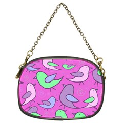 Pink birds pattern Chain Purses (Two Sides)