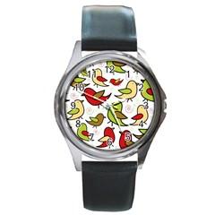 Decorative birds pattern Round Metal Watch
