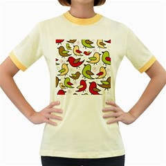 Decorative birds pattern Women s Fitted Ringer T-Shirts
