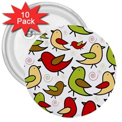 Decorative birds pattern 3  Buttons (10 pack)