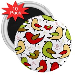 Decorative birds pattern 3  Magnets (10 pack)