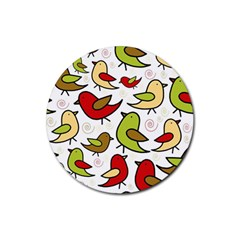 Decorative birds pattern Rubber Coaster (Round)