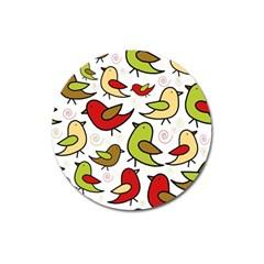 Decorative birds pattern Magnet 3  (Round)