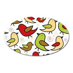 Decorative birds pattern Oval Magnet