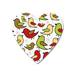 Decorative birds pattern Heart Magnet