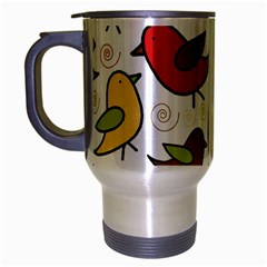 Decorative birds pattern Travel Mug (Silver Gray)
