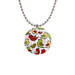 Decorative birds pattern Button Necklaces