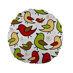 Decorative birds pattern Standard 15  Premium Round Cushions